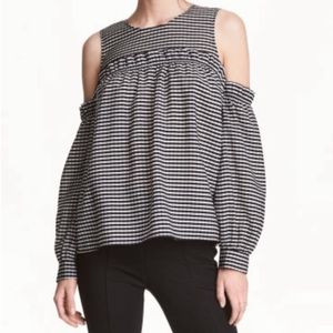 H&M Cold Shoulder Ruffle Gingham Top [size 4]